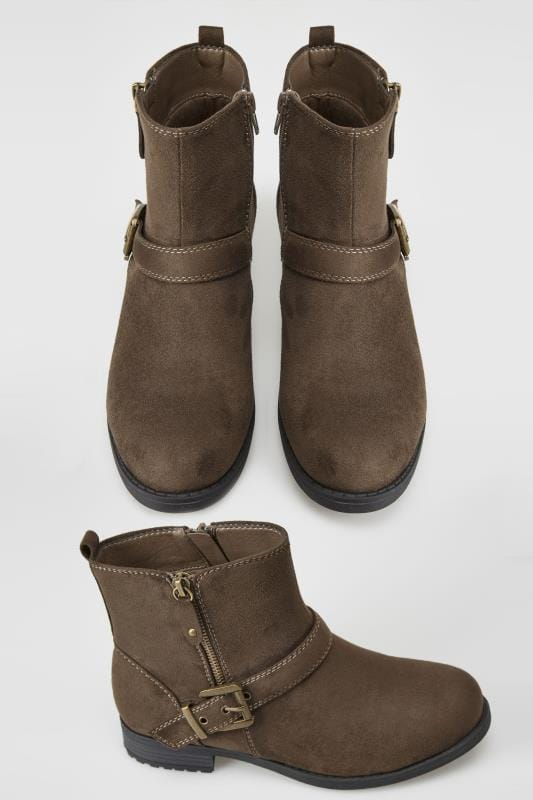 duży rozmiar Botki na szeroką stopę Brown Buckled Ankle Boots In TRUE EEE FIT