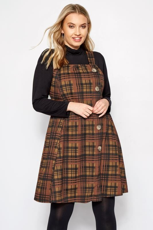 Plus Size Swing Dresses Brown Check Button Pinafore Dress