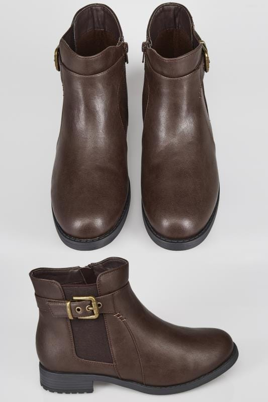 Brown Chelsea Ankle Boot With Buckle Detail In TRUE EEE Fit