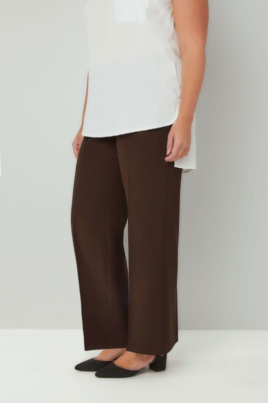 Plus Size Straight Leg Trousers Brown Classic Straight Leg Trousers With Elasticated Waistband