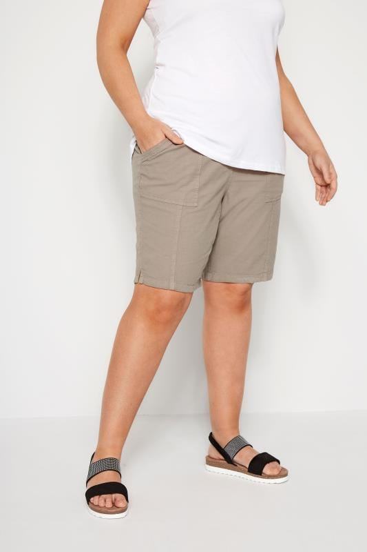 Plus Size Cotton Shorts Stone Cool Cotton Pull On Shorts