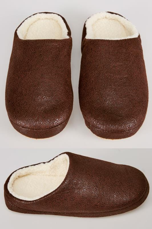 Brown Distressed Slippers With Cream Fleece Inside