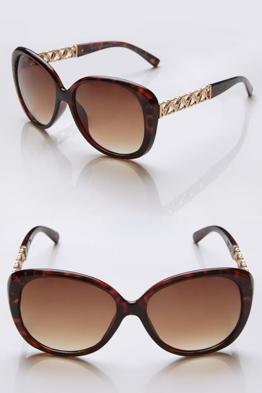 Brown & Gold Oversized Sunglasses With Heart Shaped Details & UV Protection