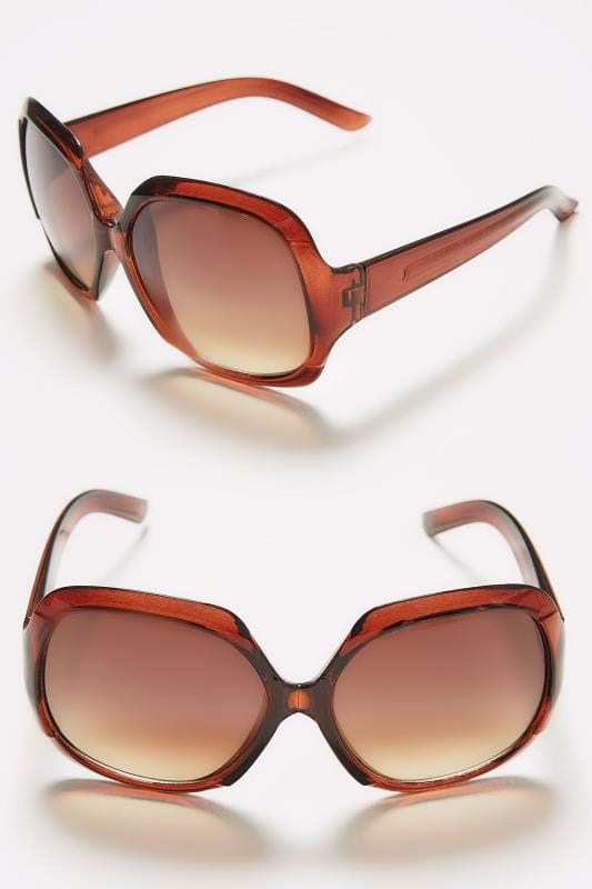 Brown Large Square Sunglasses With UV Protection