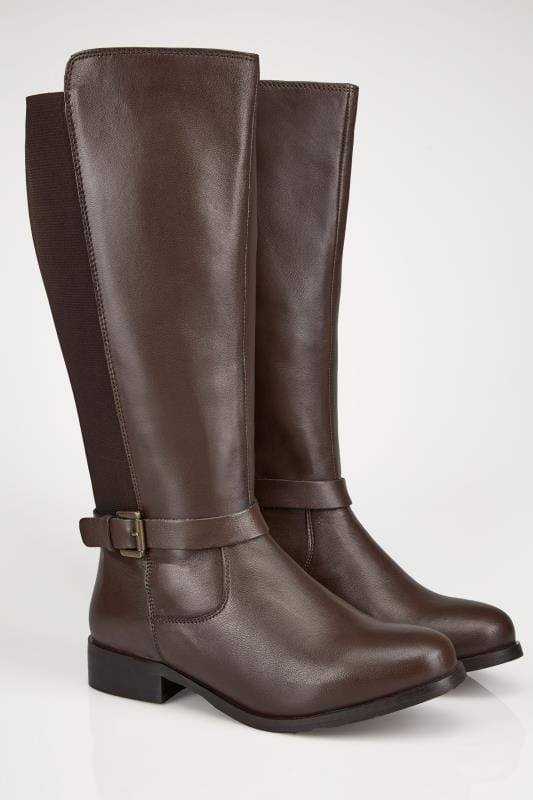 Wide Fit Boots Brown Leather XL Calf Riding Boots With Stretch Panels & Buckle Details In TRUE EEE Fit