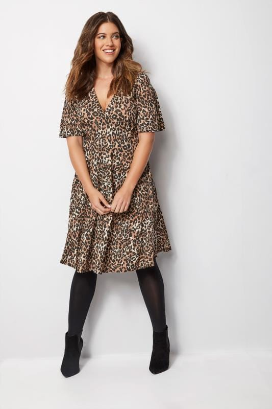 Plus Size Midi Dresses Brown Leopard Print Midi Dress