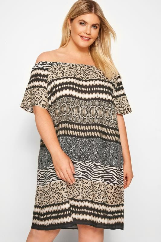 96874117fd0 Plus Size Casual Dresses Brown Mixed Animal Print Bardot Dress