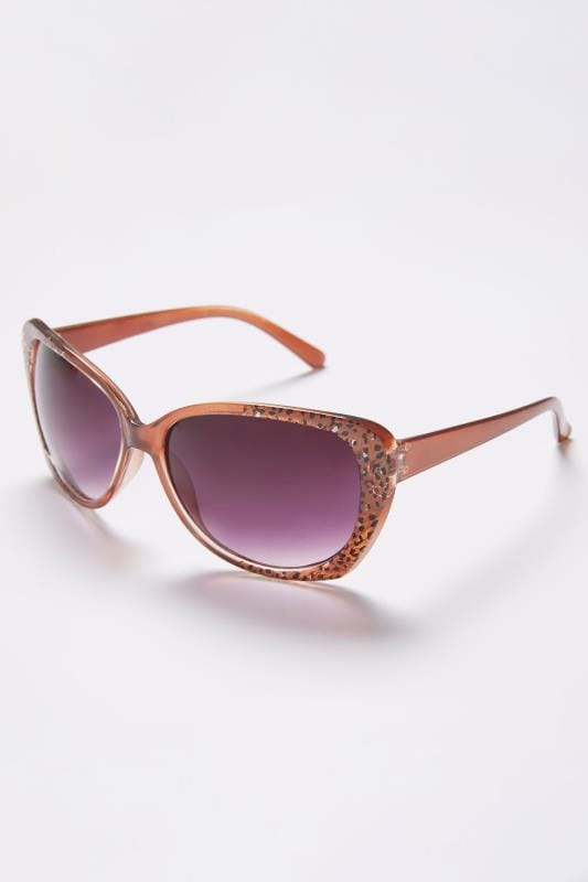 Brown Sunglasses With Animal Print Detail With UV 400 Protection