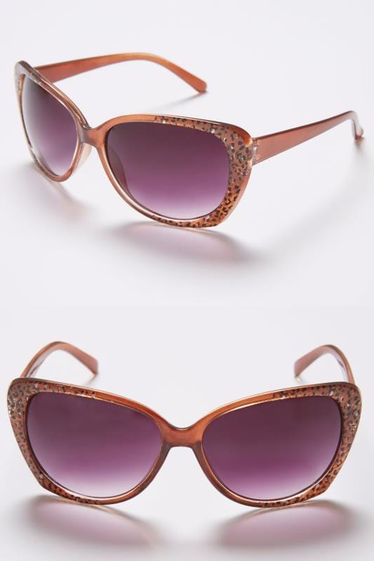 Plus Size Sunglasses Brown Sunglasses With Animal Print Detail With UV 400 Protection