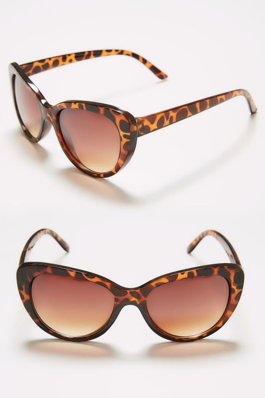 Plus Size Sunglasses Brown Tortoiseshell Cat Eye Sunglasses With UV Protection
