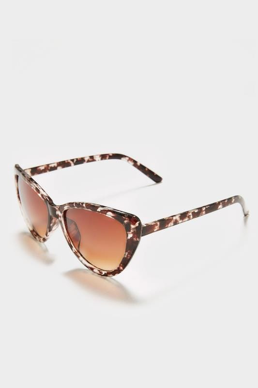 Brown Tortoiseshell Large Cat Eye Sunglasses With UV Protection