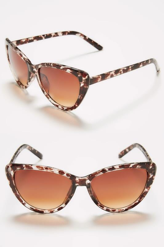 Plus Size Sunglasses Brown Tortoiseshell Large Cat Eye Sunglasses With UV Protection