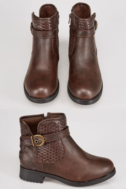 Brown Whipstitch Ankle Boot In EEE Fit