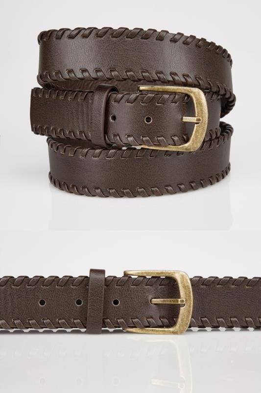 Brown Whipstitch Pin Buckle Belt