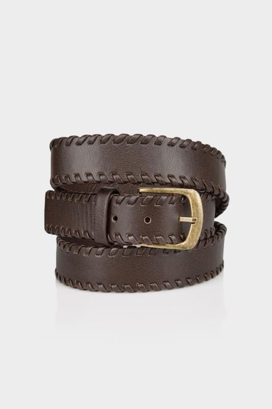 Plus Size Belts Brown Whipstitch Pin Buckle Belt