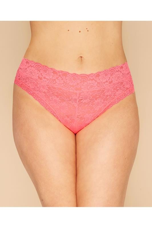 Plus Size Panties Bubblegum Pink Lace Briefs