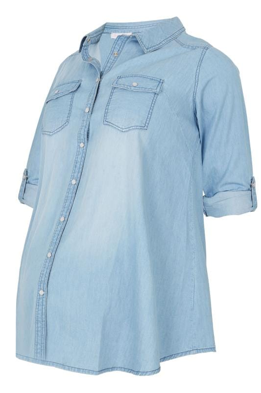 Tallas Grandes Camisetas y tops BUMP IT UP MATERNITY Blue Denim Shirt