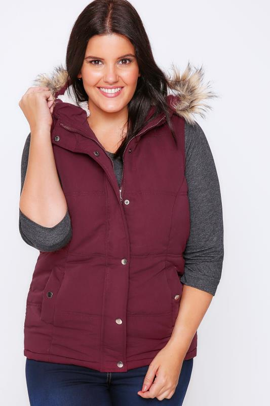 Burgundy Quilted Gilet With Faux Fur Hood