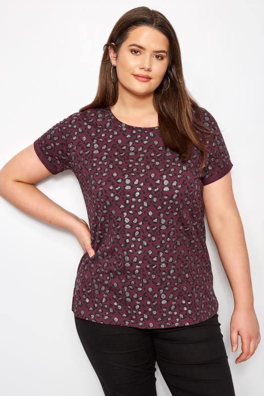 Plus Size T-Shirts Burgundy Animal Print Glitter T-Shirt