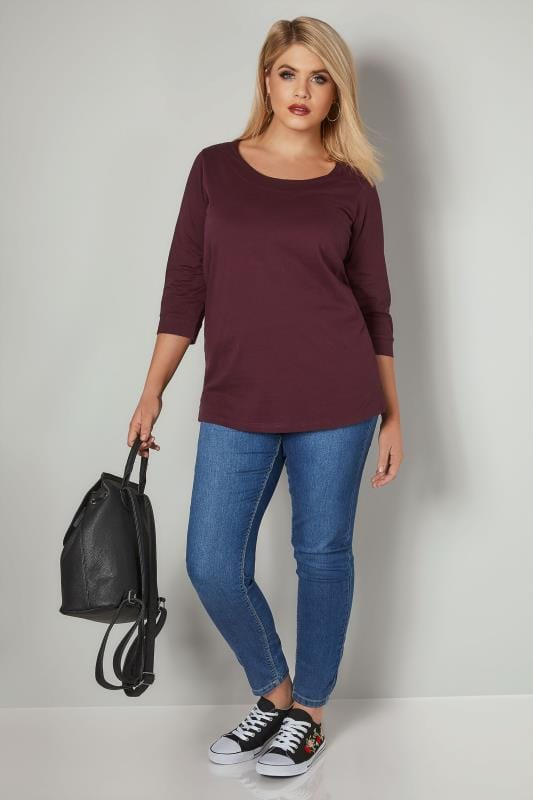 Burgundy Band Scoop Neckline T-Shirt With 3/4 Sleeves