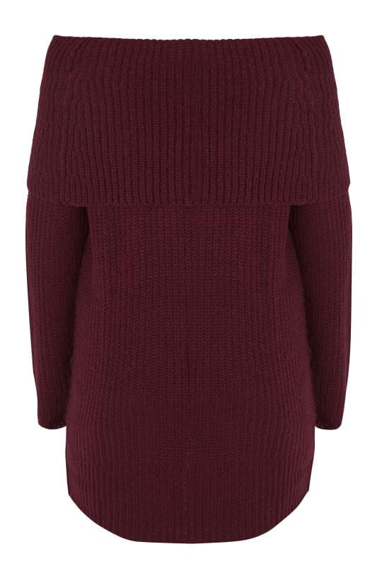 Burgundy Bardot Knitted Jumper