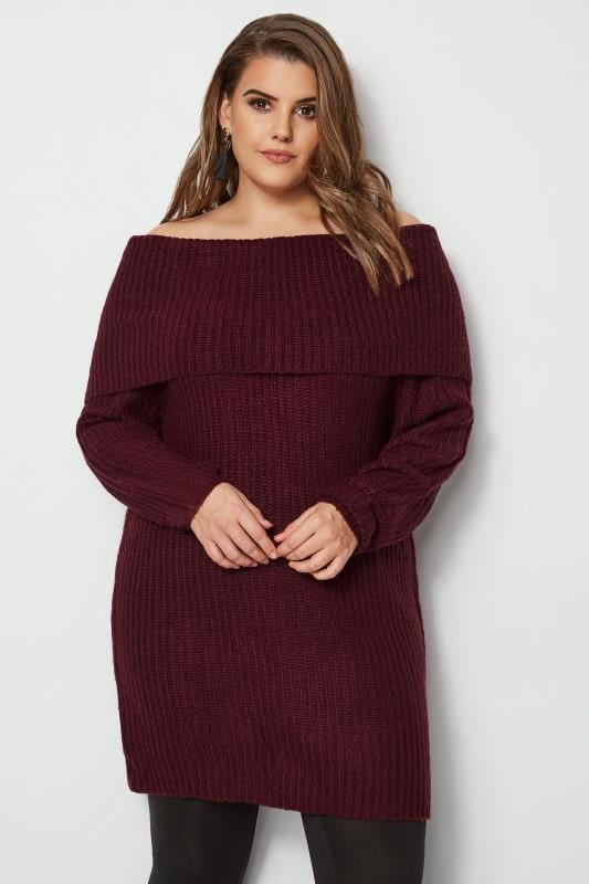 Plus Size Jumpers Burgundy Bardot Knitted Jumper