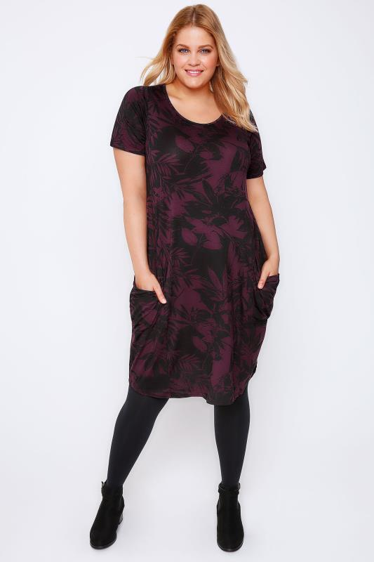 Burgundy & Black Floral Print Jersey Dress With Drop Pockets