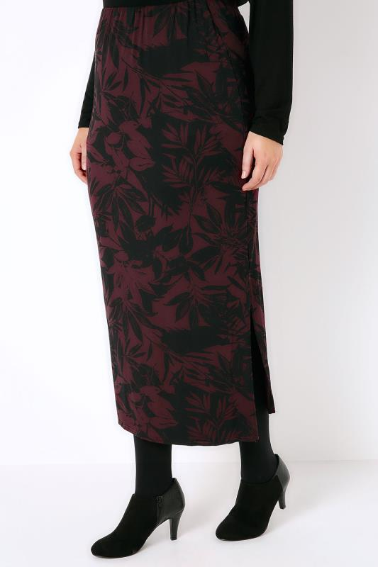 Burgundy & Black Leaf Print Tube Skirt