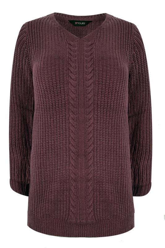 Burgundy Cable Knit Jumper