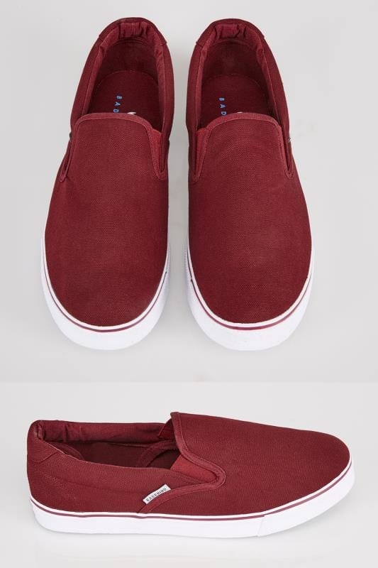 Trainers & Plimsolls  Burgundy Canvas Slip On Plimsolls 056156