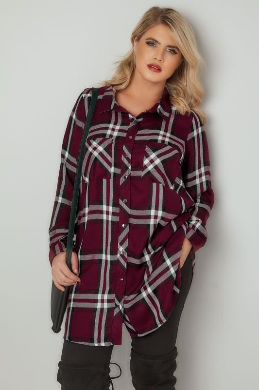 Burgundy Checked Longline Boyfriend Shirt With Pockets