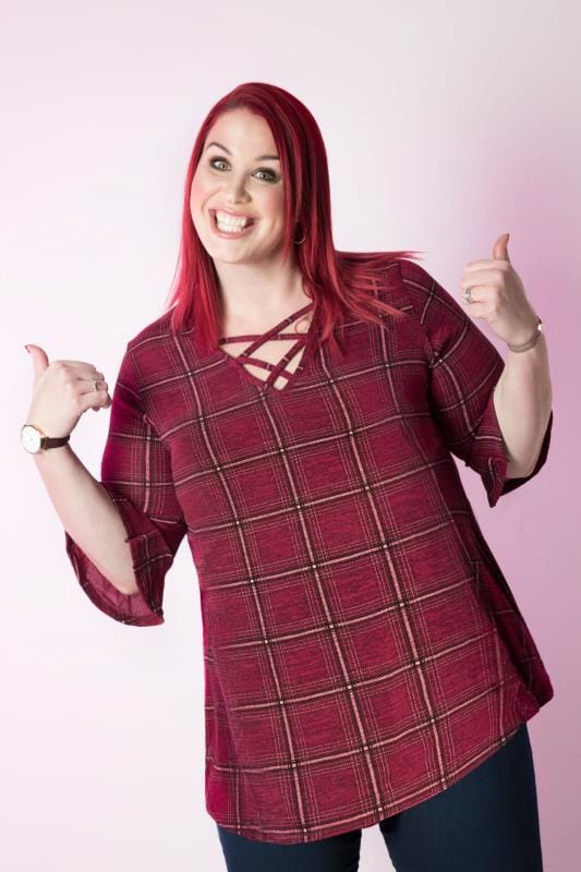 Burgundy Checked Longline Top With Flute Sleeves