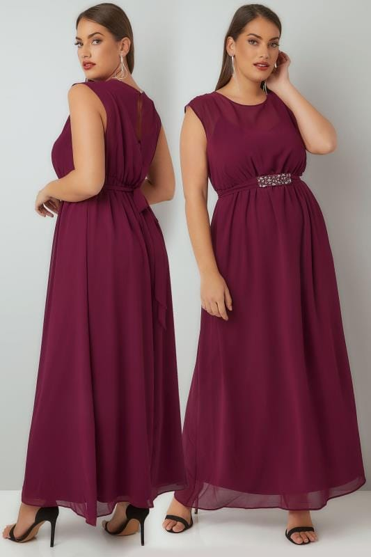 YOURS LONDON Burgundy Chiffon Maxi Dress With Embellished Tie Waist & Split Back