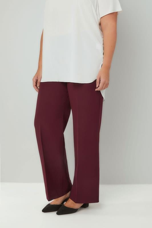 Straight Leg Trousers Burgundy Classic Straight Leg Trousers With Elasticated Waistband 140009