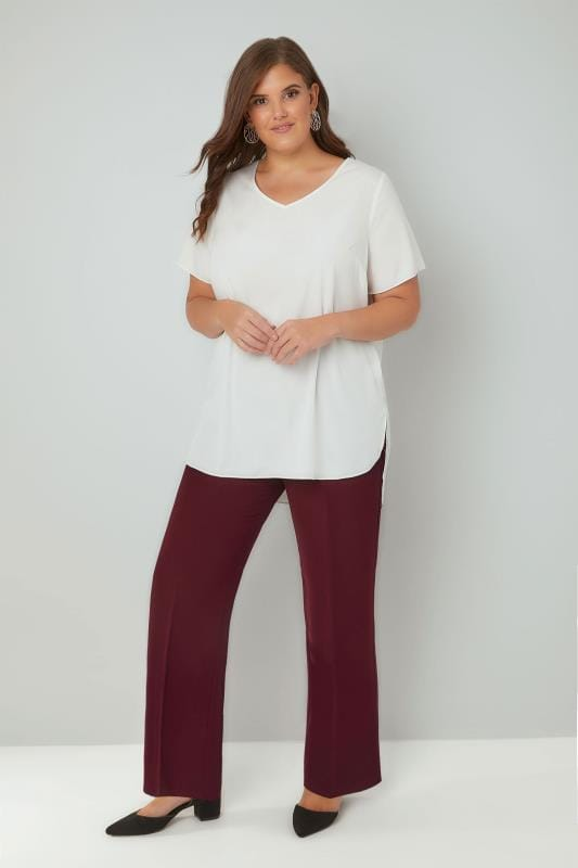 Burgundy Classic Straight Leg Trousers With Elasticated Waistband