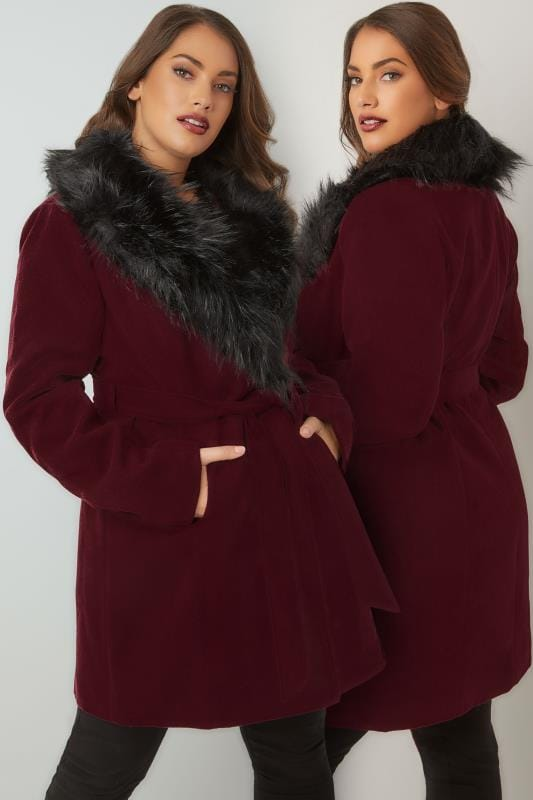Burgundy Coat With Faux Fur Collar & Tie Waist