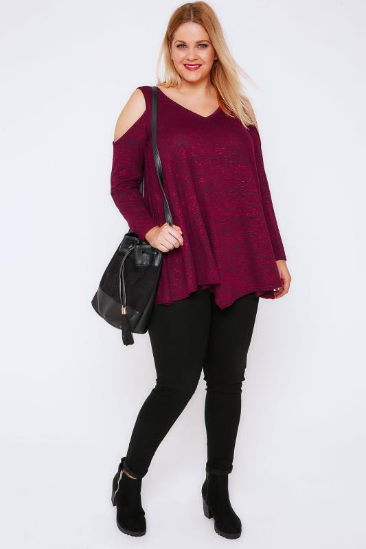 Burgundy Cold Shoulder Asymmetric Top With Long Sleeves