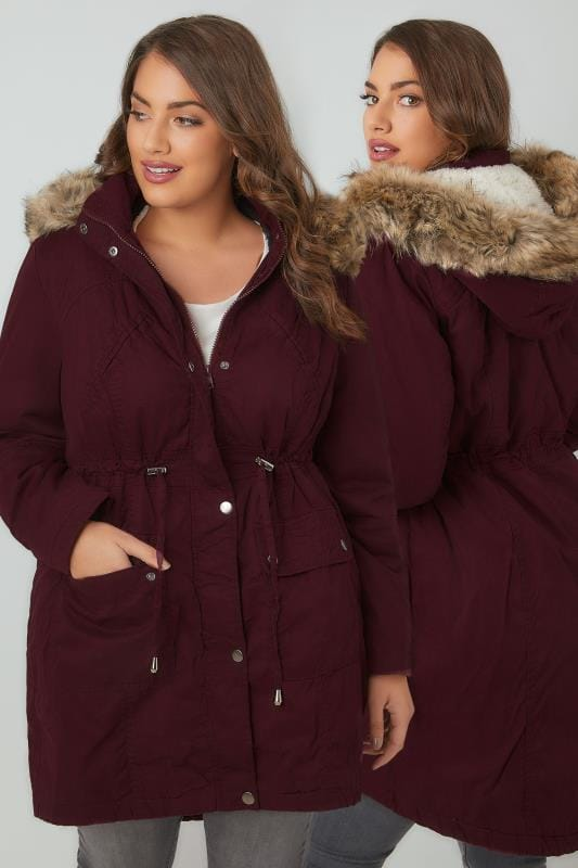 Parka Coats Burgundy Cotton Parka With Faux Fur Trim Hood 120021