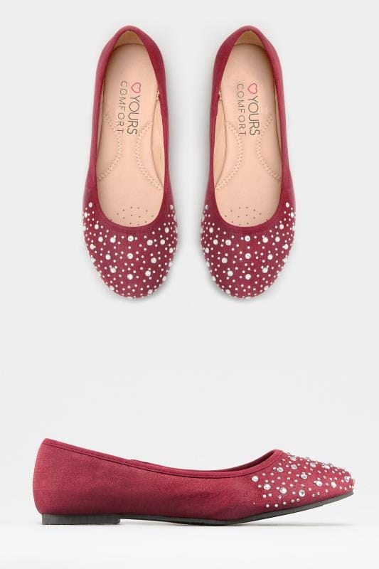 Burgundy Diamante Ballerina Pumps