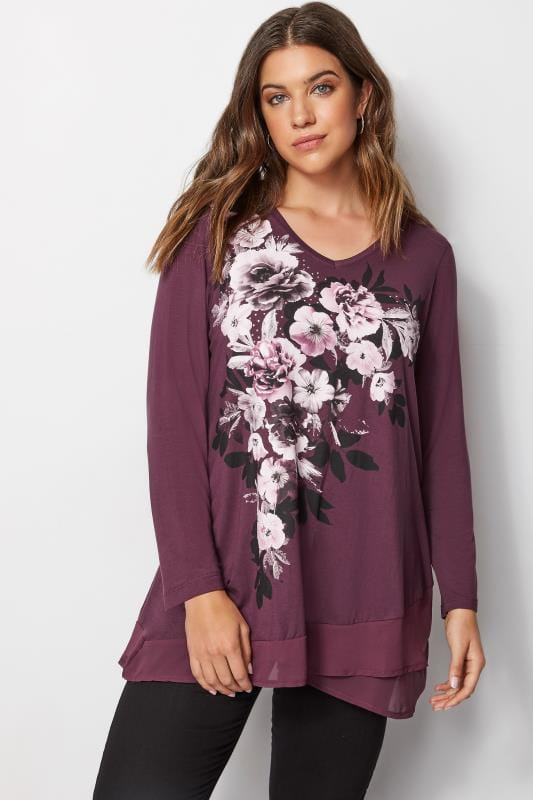 Plus Size Day Tops Burgundy Floral Diamante Top With Chiffon Hem