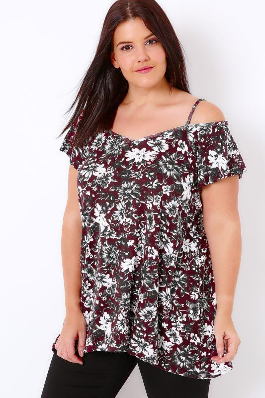 Burgundy Floral Print Cold Shoulder Top With Angel Sleeves