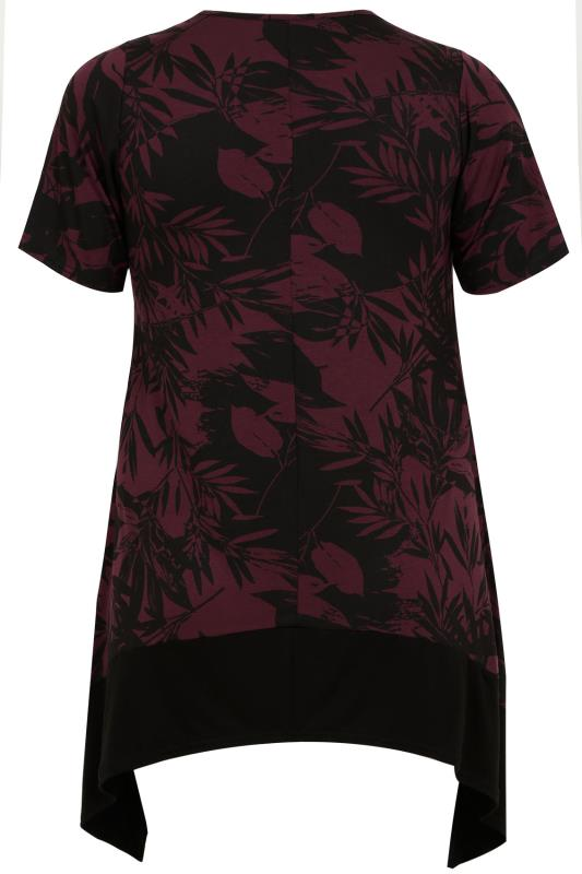Burgundy Floral Print Hanky Hem Top With Black Border