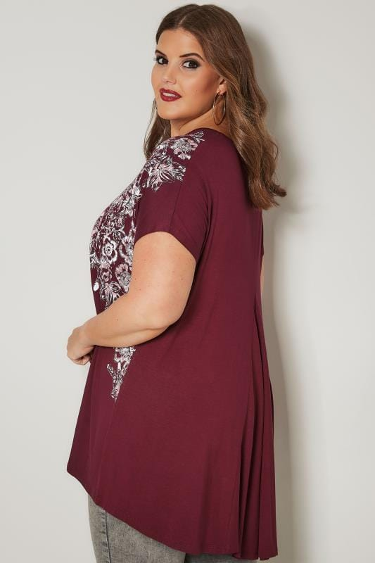 Burgundy Floral Stud Embellished Top