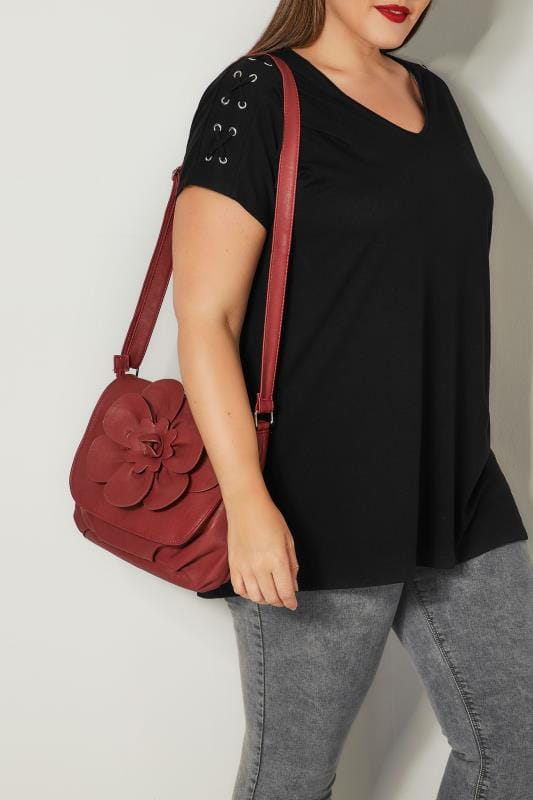 Plus Size Bags & Purses Burgundy Flower Shoulder Bag With Adjustable Strap