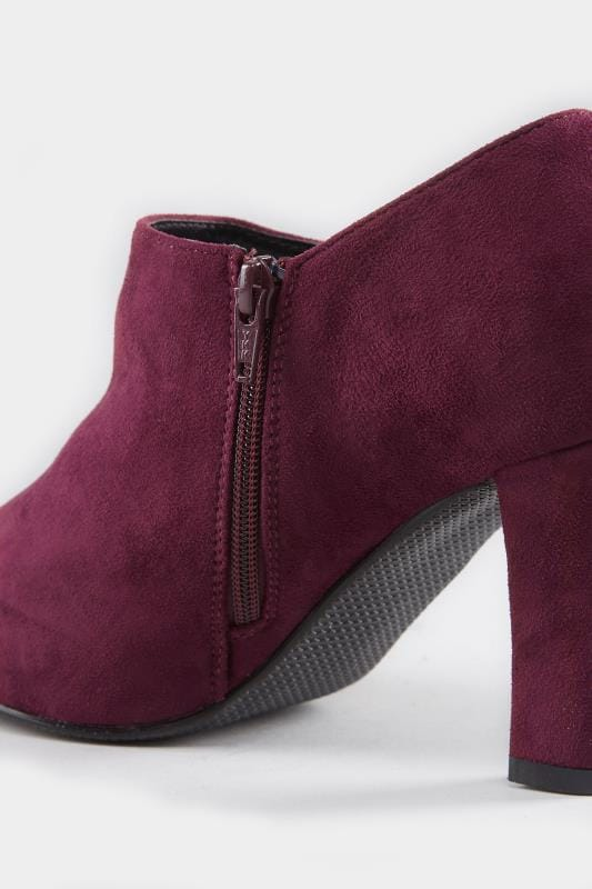 Burgundy Heeled Shoe Boots In EEE Fit