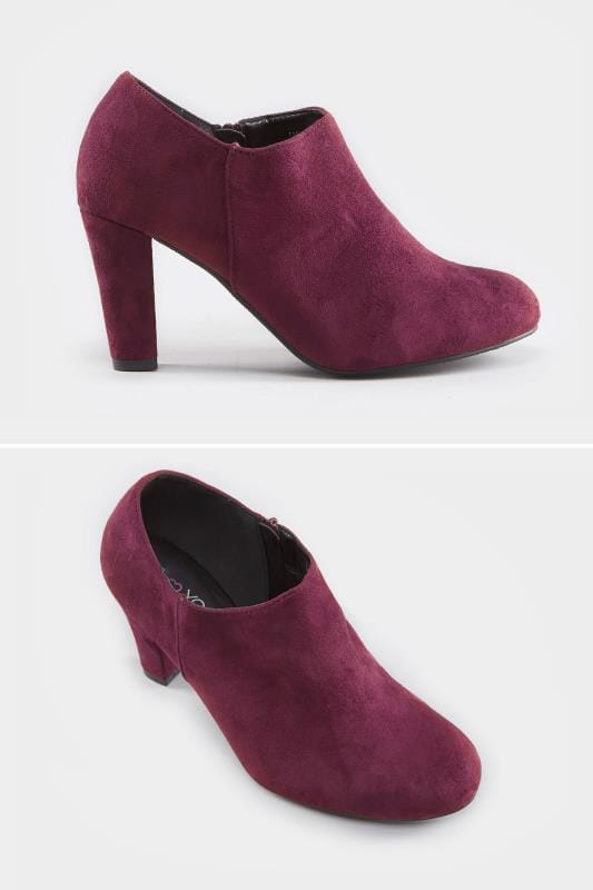 Wide Fit Boots Burgundy Heeled Shoe Boots In EEE Fit