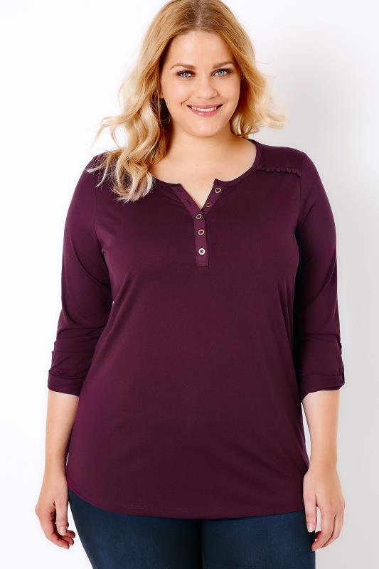 Burgundy Jersey Shirt With Pom Lace Detail & Dipped Hem
