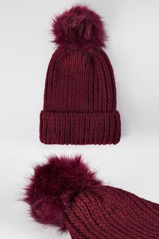 Plus Size Hats Burgundy Knitted Hat With Pom-Pom