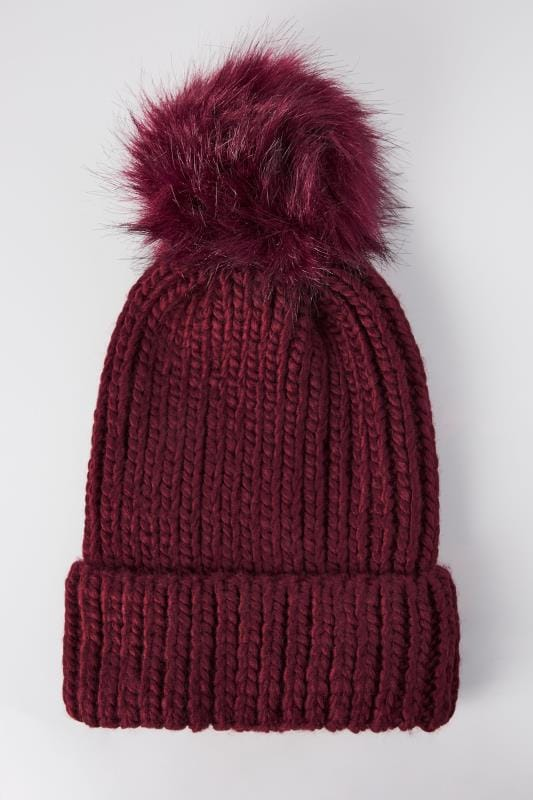 Hats Burgundy Knitted Hat With Pom-Pom 152323