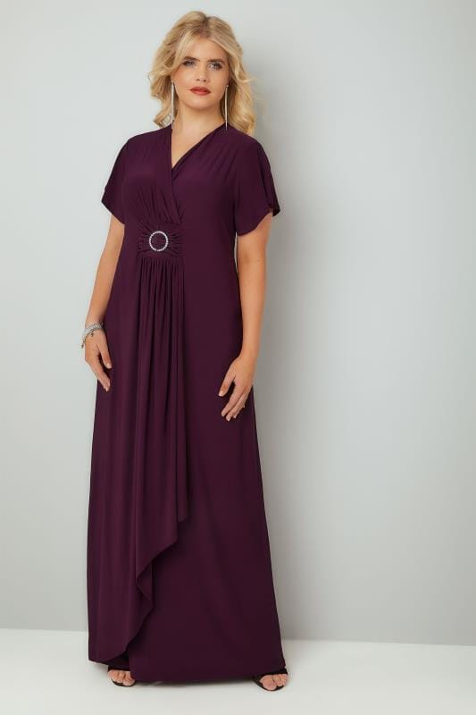 YOURS LONDON Burgundy Layered Maxi Dress With Ring Detail